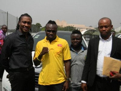 Baffour Gyan, Game Boy, his brother Bobby Short and Sammy Anim Addo at the launch